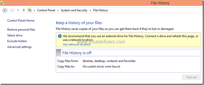 Windows 8 File History Backup and Restore Features (2)