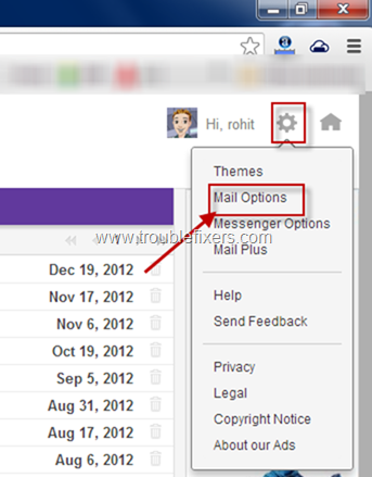 Yahoo Mail Options