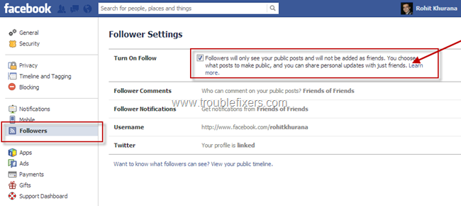 follower notifiactions in facebook