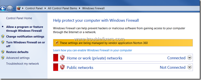 Windows Firewall Turned Off