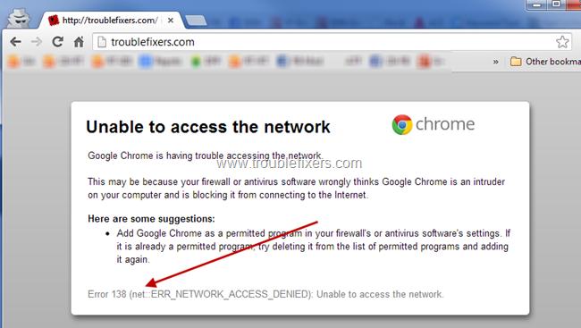 Google Chrome Error Code 138