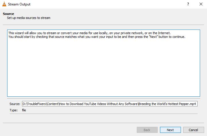 VLC stream output source