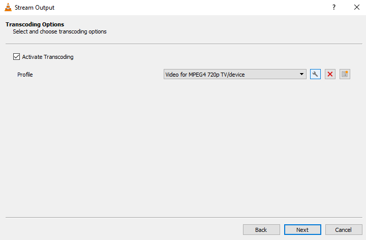 VLC stream output transcoding options