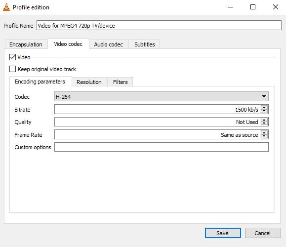 VLC profile edition video codec