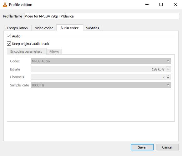 VLC profile edition audio codec