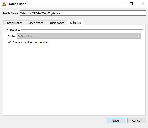 VLC profile edition subtitles