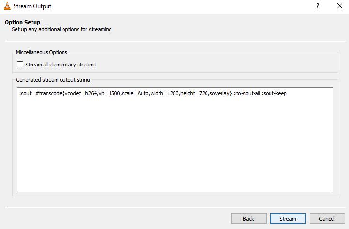 VLC stream output option setup