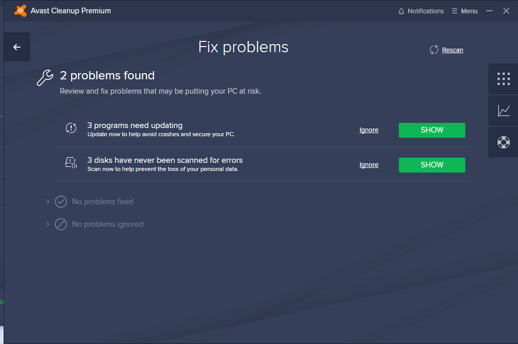 avast fix problems scan