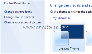 Unsaved Theme In Windows 7 Personalize