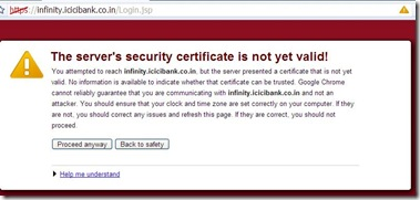 Security Certificate not valid error in google chrome