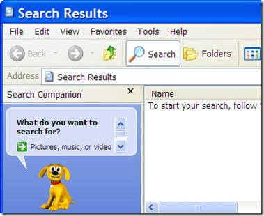 search window opens on double click