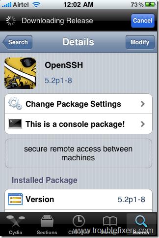 openSSH app from cedia
