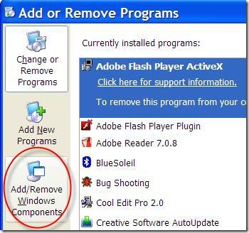 Add remove windows components