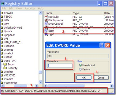 registry chane to make USB mass storage work