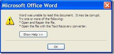 Microsoft Word 2003 Document Corrupt
