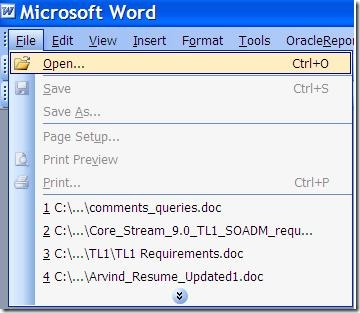 Open Microsoft Word 2003 Document