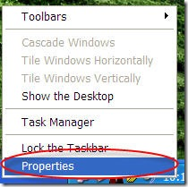 right click taskbar