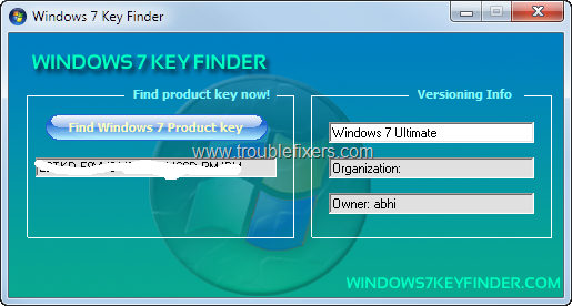 Reveal Serial Number or License Key Of Windows 7 And Other Windows